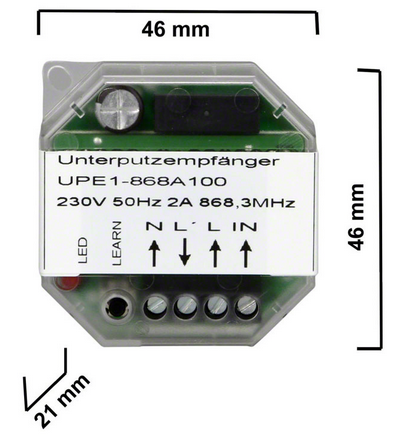 Dickert UPE1-868A100 Unterputz-Funkempfänger 1 Kanal 868 MHz