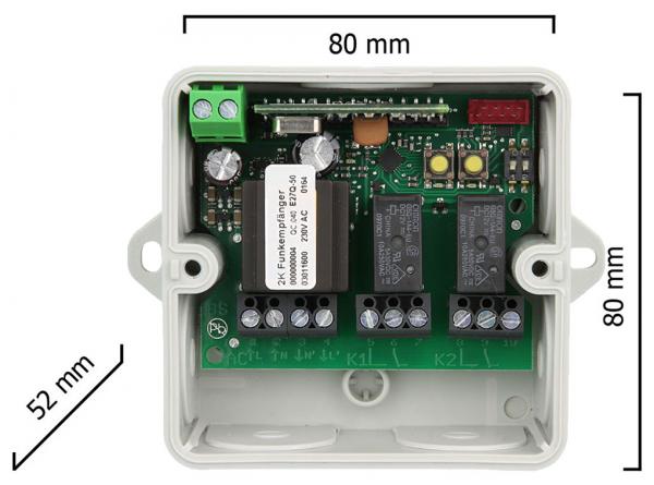 Dickert E27Q-868A200 Mini Empfänger, 230V, AC, 2 Kanal, 868,3 MHz